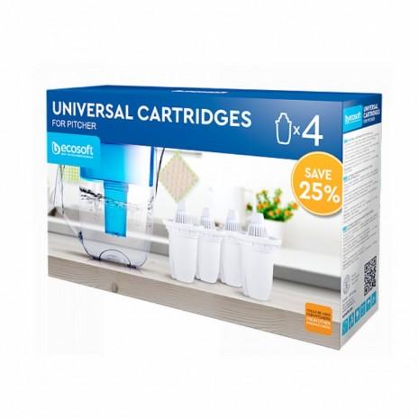 Комплект универсальных сменных картриджей 3+1 Ecosoft к фильтрам-кувшинам CRVKAB4ECO