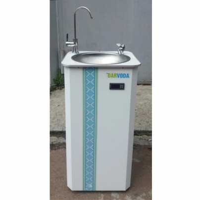 Питьевой фонтанчик DARVODA ПФ-1-4КХ с охлаждением  и нагревом воды, белый  c узором (ПФ-1-4КХHУ)